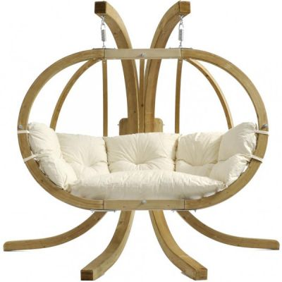 Outdoor/Indoor XL Hanging Chair with Stand: GLOBO ROYAL NATURA