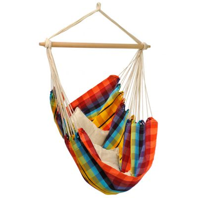XL Hammock Hanging Chair: BRASIL RAINBOW (Pillows NOT included)