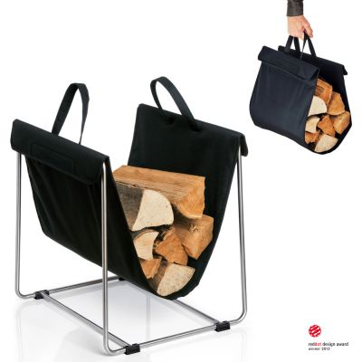 Portable Firewood/Log Basket: BLOMUS MADRA BLACK