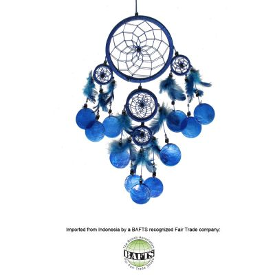 Fair Trade Dreamcatcher -Blue: FEATHERS & SHELLS