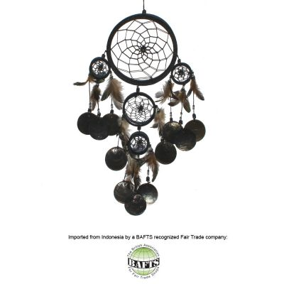 Fair Trade Dreamcatcher -Black: FEATHERS & SHELLS