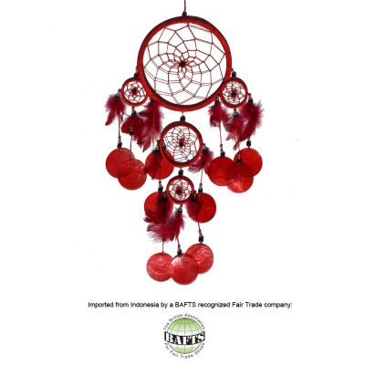 Fair Trade Dreamcatcher -Red: FEATHERS & SHELLS