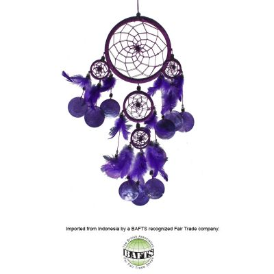Fair Trade Dreamcatcher -Violet: FEATHERS & SHELLS