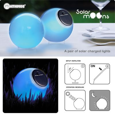 Portable Indoor & Outdoor Solar Charged Glass Lights: MATHMOS SOLAR MOONS_BLUE
