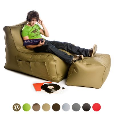Beanbag Lounge Sofa + Footstool: R-Lax - Color: KHAKI