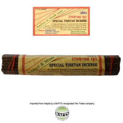 Fair Trade Special Tibetan Incense: AMBER & MUSK MIXED